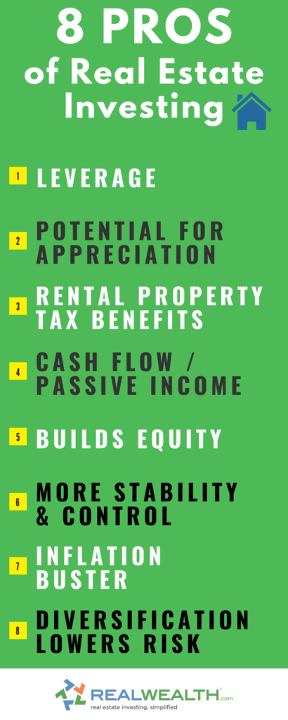 Infographic Highlighting 8 Pros of Real Estate Investing