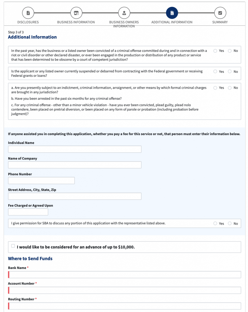 Image Highlighting EIDL Loan Application Additional Information Part 1