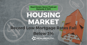 Housing Market: Record Low Mortgage Rates Fall Below 3%, Real Estate News for Investors Podcast Episode #929 Header
