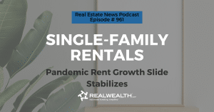 Single-Family Rentals: Pandemic Rent Growth Slide Stabilizes,Real Estate News for Investors Podcast Episode #961 Header