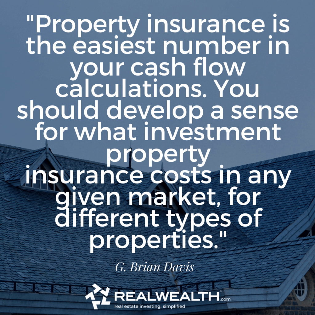 Quote about property insurance and cash flow from an article about calculating returns on rental property